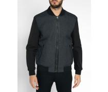 Schwarze, wendbare College-Jacke aus Wolle und Nylon
