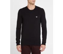 Schwarzer Pullover aus zweierlei Strick mit Rundhalsausschnitt und Logo an der Brust