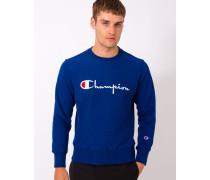 Reverse Weave Crew Neck Sweatshirt Blue