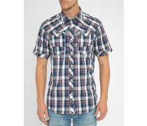 Rot-blau kariertes Slimfit-Kurzarmhemd Arc 3D shirt S-S