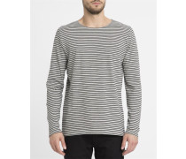 Graues T-Shirt ML mit Rundhalsausschnitt und Streifen 1008