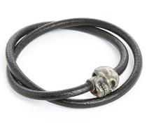 Schwarzes, doppelt geschlungenes Armband Skull Berlin 36 cm aus Silber und Leder