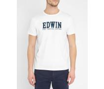 Weißes T-Shirt mit Rundhalsausschnitt und -Logo Weiß Script
