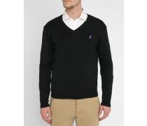 Pullover mit V-Ausschnitt aus schwarzer Pima-Baumwolle