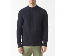 Pullover Verzwirnt Wolle Marineblau