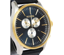 Uhr Sentry Chrono Leather in Gold und Blau