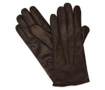 Braune Handschuhe aus Glattleder mit Armani-Logo und Innenseite aus Wolle