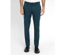 Entenblaue Slim-Chino-Hose aus Stretch-Baumwolle