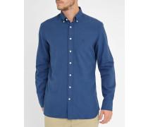 Blaues SlimfitHemd Oxford mit Button-Down-Kragen und Pünktchen-Detail
