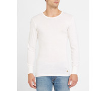 Langärmeliges T-Shirt Baumwolle Wolle Ecru