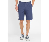 Blaue Popeline-Shorts