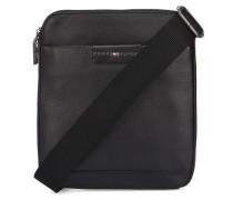 Tasche Flat aus schwarzem genarbtem Leder