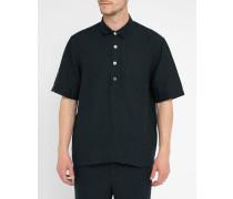 Marineblaues Popover-Hemd aus Leinen