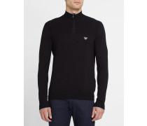 Zweifarbiger Pullover in Schwarz und Grau mit Stehkragen, Reißverschluss und Brustlogo