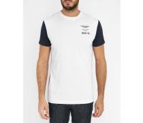 Trikolore-T-Shirt mit Rundhalsausschnitt und Logo Aston Martin