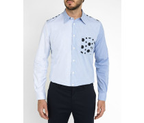 Himmelblaues, gepunktetes Hemd Tailored aus Popeline Patchwork