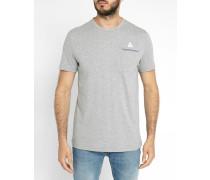 Graues T-Shirt Trikolore Pocket
