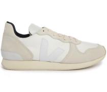 Sneaker Holiday aus ecru Veloursleder und weißem Mesh