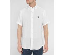 Weißes Kurzarmhemd Custom Fit aus Leinen