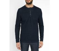 Blaues T-Shirt Claverdon mit Knopfleiste