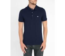 Marineblaues kurzärmeliges Slimfit-Poloshirt mit -Logo Elastan
