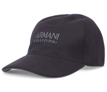 Marineblaue Basecap aus Wolle mit Armani-Logo