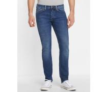 Blau ausgewaschene Slim-Jeans 11.5oz ED-80