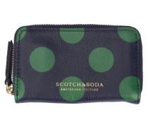 Blaues Leder-Portemonnaie Dots mit Reißverschluss