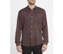 Bordeauxrotes Hemd Initial mit Paisley-Aufdruck