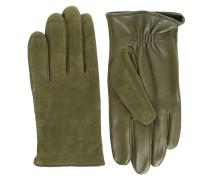 Khakibraune Handschuhe aus Nubukleder Damier