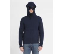 Marineblaues Sweatshirt mit Reißverschluss und in die Kapuze integrierter Brille