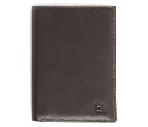 Portemonnaie aus braunem Leder mit Reißverschluss-Tasche und 11 Fächern Touraine