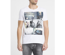 Weißes T-Shirt mit Rundhalsausschnitt und Berg-Aufdruck
