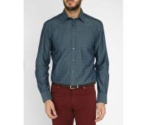 Chambray-blaues Hemd Pr mit Miniblumenmuster