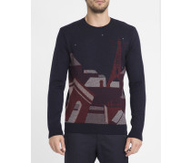 Marineblauer Pullover mit Chaos-Motiv