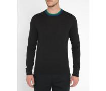 Schwarzer Pullover mit kontrastierendem Rundhalsausschnitt