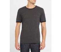 Anthrazitgraues T-Shirt mit Taschen und Totenkopfdetail