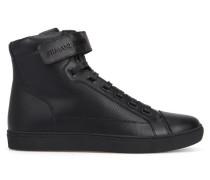 Hohe Leder-Sneaker Scratch mit Lochmuster und AJ-Logo in Schwarz