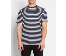Marineblaues T-Shirt mit Rundhalsausschnitt und Brustlogo mit weißen Streifen