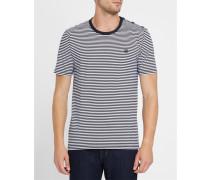 Gestreiftes T-Shirt in Ecru mit Knöpfen an den Schultern