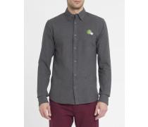 Anthrazitgraues Hemd aus gerauter Baumwolle