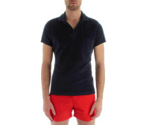 Dunkelblaues Polo-Shirt Terry, Frottee