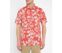 Kurzärmeliges rotes Hemd Aloha