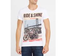 Weißes T-Shirt mit Rundhalsausschnitt mit Druckmotiv Rider-Biker