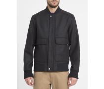 Anthrazitgraue College-Jacke mit aufgesetzten Taschen und Rippenkragen