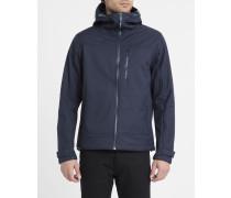 Marineblaue technische Windproof-Jacke mit Reißverschluss