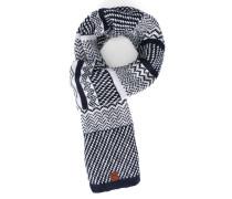 Schal aus Biobaumwolle mit Grafikmuster in Weiß und Blau