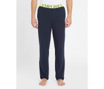Marineblaue Pyjamahose mit neongelbem Bund