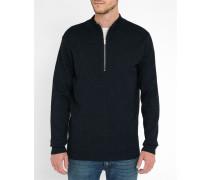 Indigoblauer Pullover mit Kragen mit Reißverschluss Fjord