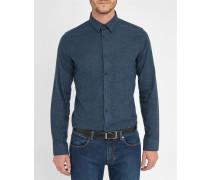 Blau meliertes Extra-Slim-Flanellhemd Auguste mit klassischem Kragen